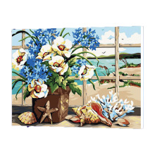 WONZOM Beach Flower Oil Painting By Numbers DIY Abstract Digital Picture Coloring On Canvas Unique Gift For Home 2017