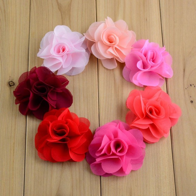 40 pcs embellissement DIY tissu fleurs mousseline de soie fleurs cheveux  fleurs pour faire bandeaux,