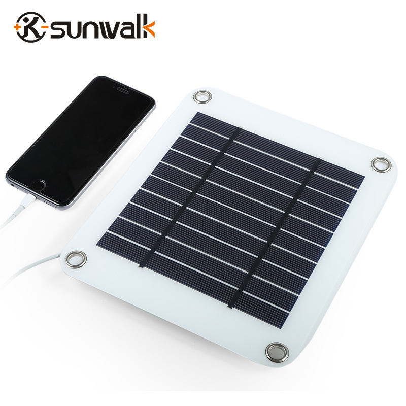 SUNWALK 5V 5W Solar Panel Power Bank Charger USB Solar Panel Battery Charger for Smart Phone Samsung iPhone