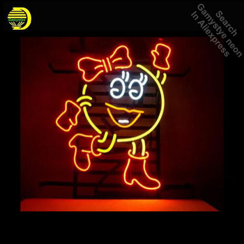 Cartoon Girl Neon Light Sign Neon Bulb handcraft Real Glass Tube Lamp Commercial Light Iconic Sign 17X14 inch