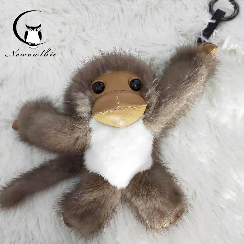 2019 nouveau style chaud long-armé singe réel vison fourrure singe enfants jouet voiture porte-clés sac pendentif accessoires de fourrure - 5