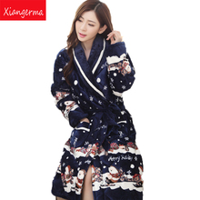 Xiangerma Autumn Winter Female Triple Thick Coral Velvet Robe Bathrobe Folder Cotton Long-Sleeved Pajamas Nightdress Specials