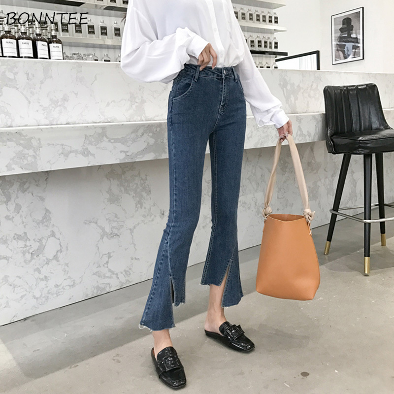 Jeans Women Ankle-length Elegant High Waist Simple Womens Flare Jean Korean Style All-match Leisure Zipper Fly Trendy Daily Chic