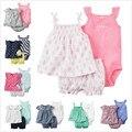 Baby Girl New Born Clothing Sets of Short Sleeve Shirt Outwear carter Cotton Sleeveless Jumpsuits+ Short Pants Diaper carter set