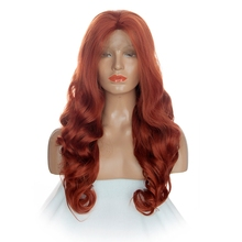 DLME Free Part Body Wave Wig 350#Color Red Synthetic Lace Front Wigs For Black Women Heat Resistant Fiber Hair Drag Queen Wigs