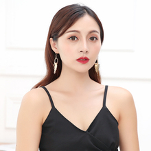 2019 new ladies black tassel earrings wild women fashion popular style