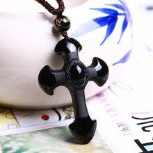 Натуральный камень обсидиан кулон 52 * 35 мм черный резной крест джейд резьба ручная талисман амулет лаки креста ожерелье