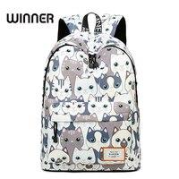 Trend Kobiet Plecak Preppy Styl Kobiet Studentów Plecak Duża Pojemność Cute Cat Wzór Drukowania Dziewczyny Plecak