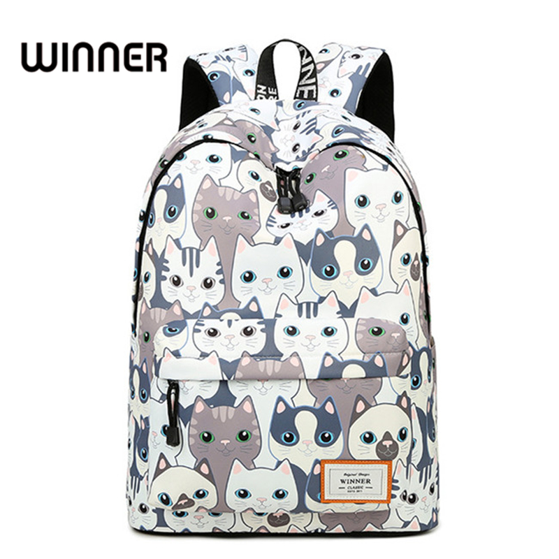Trend Women Backpack Preppy Style Female College Students Back Pack Large Capacity Cute Cat Pattern Printing Girls Knapsack fashion 15 6 inch waterproof fabric women backpack pink cute sushi cuisine pattern printing large capacity girls bookbags