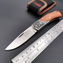 цена на Tactical  Folding Knife 7Cr17Mov Blade Wood Handle Outdoor Camping Survival Knives Hunting EDC Muti-Tool Gift Knives