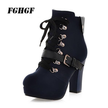 New winter  Vintage chunky Martin boots Belt buckle Lace-up Super high heels Waterproof Taiwan leisure Big yards34-43