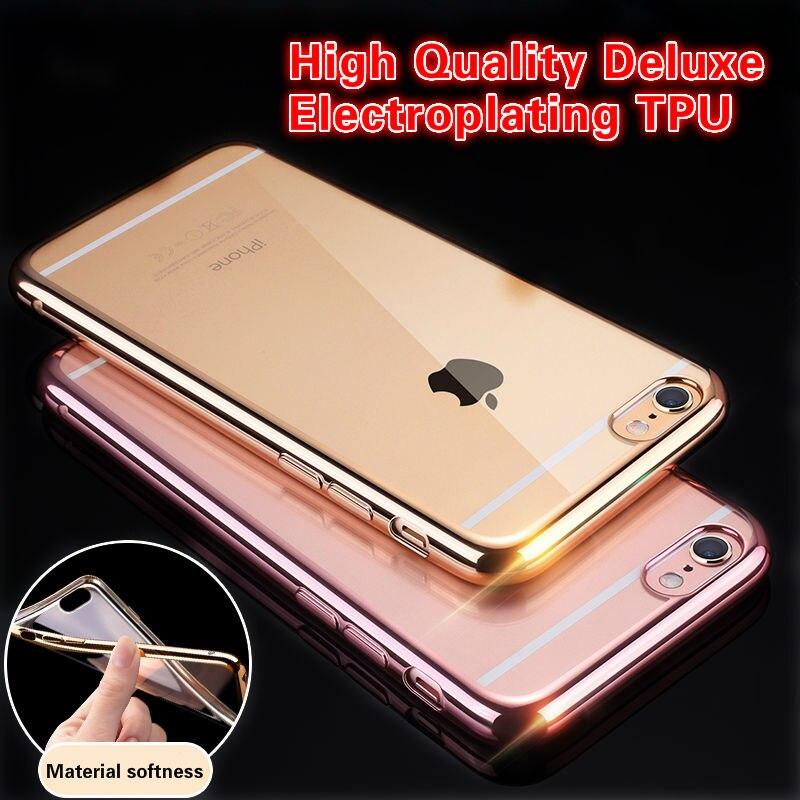 Ultra thin plating crystal clear case para el iphone 5s se 6 6 s más case para i