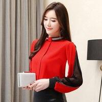 Chiffon Fashion Women Blouses Red Patchwork Casual Womens Tops Loose Plus Size Shirts Transparent Blusa Feminina Korean Shirt