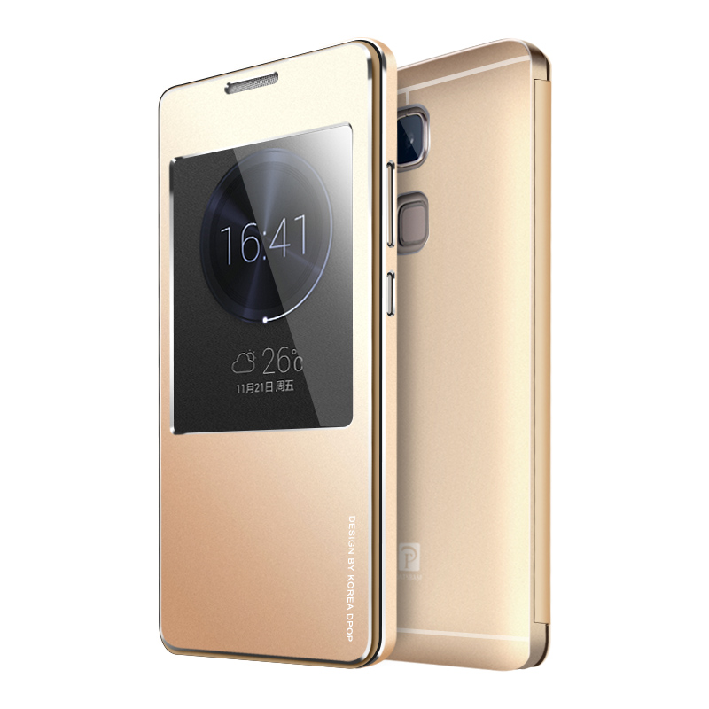new style eb17b 9e4d9 Huawei Mate7 Case Luxury Flip View Display Window Metal Cover Case For  Huawei Ascend Mate 7 Original Aluminum Mobile Phone Case