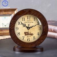 Living Room Simple Solid Wood Alarm Clock Mute Modern Simplicity Bedroom Desk Continental Creative Pendulum Quartz Pastoral