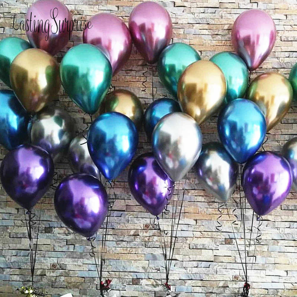 10 stücke Glänzend Metall Perle Latex Ballons Dicken Metallic Aufblasbaren Ballons Globos Metalicos Baby Shower Party Dekoration
