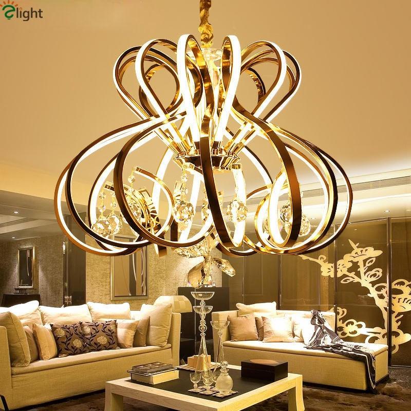 цена на Modern Dimmable Curved Luxury Gold/Chrome Led Pendant Light Eelctroplate Aluminium Soft Acrylic Lustre Cristal Led Hanging Lamp