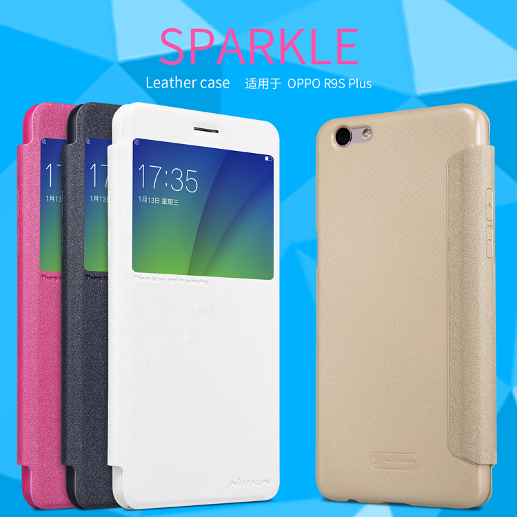 half off 11b39 60044 US $7.91 35% OFF|case for OPPO R9S PLUS case NILLKIN sparkle PU leather  flip cover view window for oppo r9s plus 6.0 inch-in Flip Cases from ...