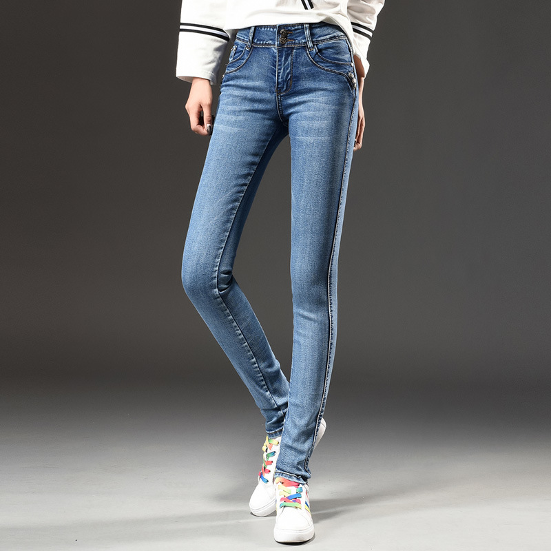 2017 New Fashion Women High Waist Skinny Stretch Jeans Female Spring Jeans Plus Size Blue Long Pencil Pants 2017 new fashion women elastic waist high waist skinny stretch jeans female spring jeans pencil pants plus size full length sexy