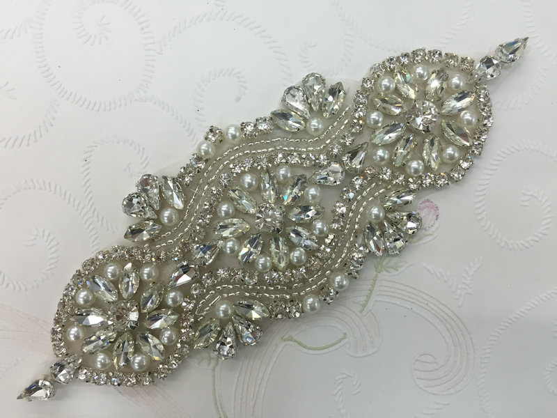 Retail Bridal Rhinestone Pearl Applique Iron On Beaded Patch FA 030