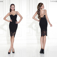 цены 2016 Tarik Ediz Cocktail Dresses Scoop Neck Lace Sleeveless Black Knee Length Satin New Arrival