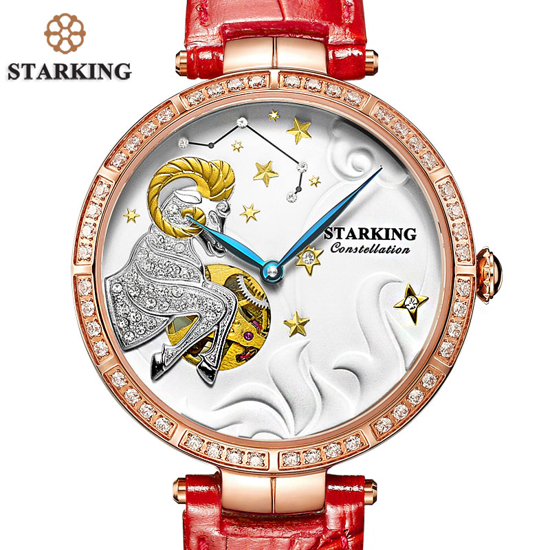 STARKING New ARIES Design Luxury Brand Dress Watch Constellation Women Elegant Leisure Gold Crystal Lady Mechanical Wristwatch