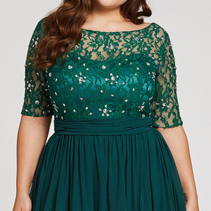 Image 4 - Tanpell Plus Size Evening Dresses Hunter Scoop A Line Floor Length Dress Chiffon Half Sleeves Beaded Lace Long Evening Gown