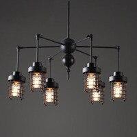European creative retro black iron spider chandelier lamp DIY restaurant industrial 6*E27 LED bulb chandeliers lighting fixture