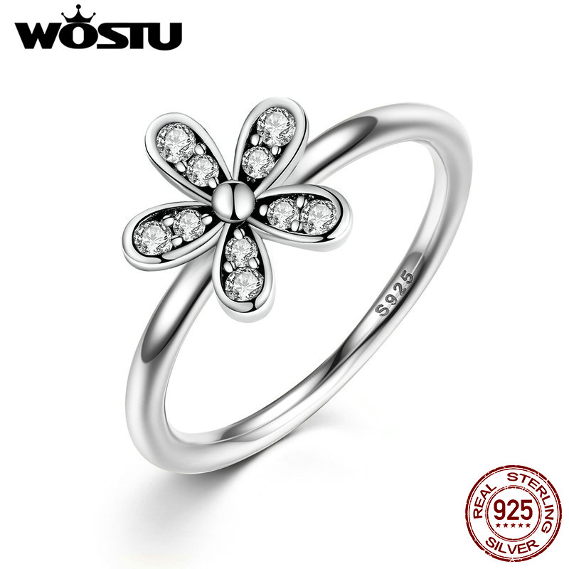 925 Sterling Silver Dazzling Daisy Meadow Stackable Ring With AAA Clear CZ For Women Compatible with Original Pandora Jewelry mariposa en plata anillo