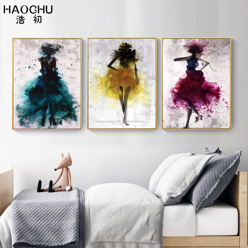 HAOCHU abstract watercolor fashion womens dress art painting bedroom wall decoration poster canvas printing for the living room