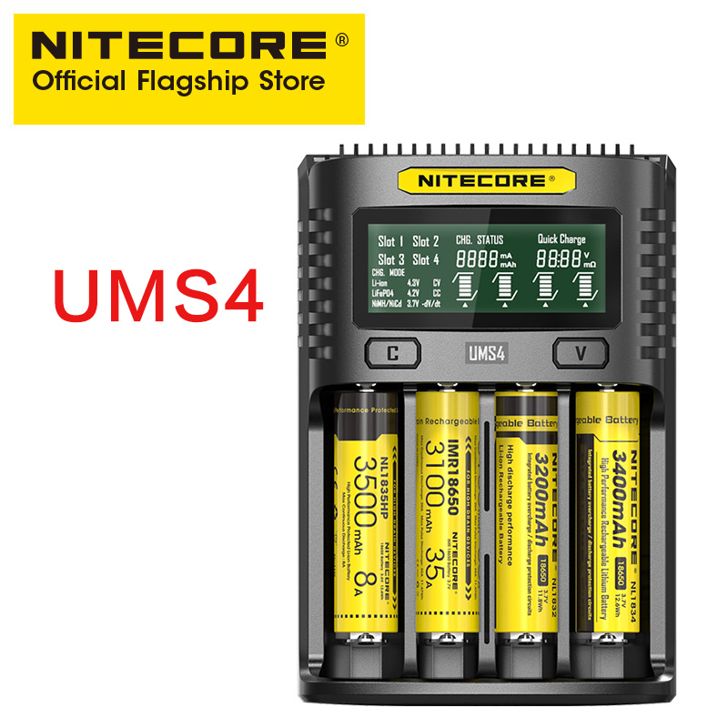 NITECORE UMS4 intelligent four-slot QC fast charging 4A high current multi-compatible ums4 chargerNITECORE UMS4 intelligent four-slot QC fast charging 4A high current multi-compatible ums4 charger