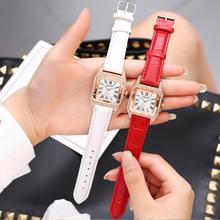 Ladies Dress Crystal Watches Bracelet Women Quartz Square Diamond Wrist Watches Leather Strap Rhinestone Watch relogio feminino недорого