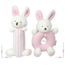 Korean Bunny Bear Circle Ring Rod Rod Rattle Set Cotton Plush Bun Circle Locket Baby Series 0.06(China)