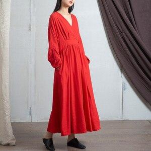 Image 3 - Johnature 2020 wiosna pościel bawełniana nowy dekolt w serek luźne jednolity kolor długi sukienka Vintage nowy 3 kolory chiński styl kobiety sukienki