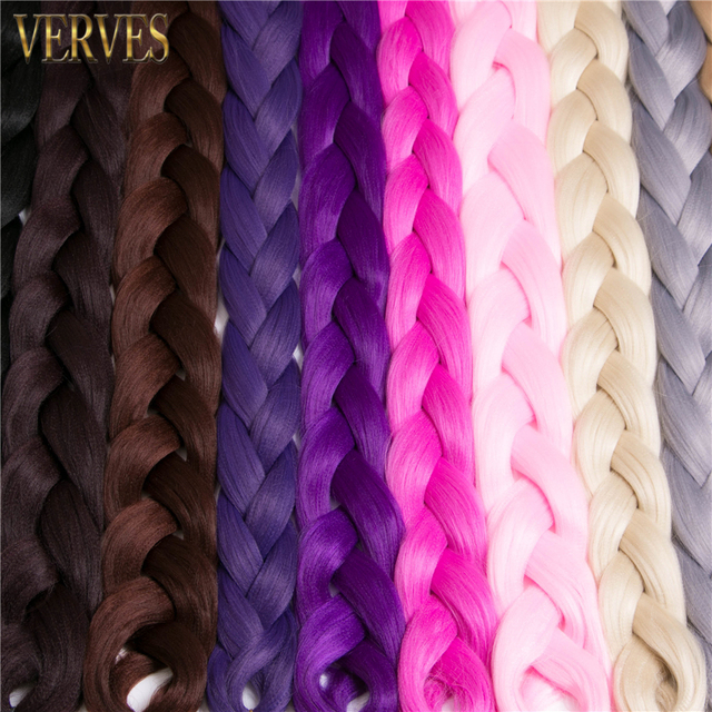 VERVES Braiding Hair one piece 82 inch Synthetic Kanekalon Fiber braid 165g/piece pure color crochet Jumbo Braid Hair Extensions