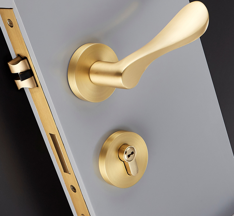 1 ensemble serrure de porte en laiton poignée de porte intérieure ronde confortable noir serrure à Double porte inégale serrure intérieure serrure de porte matériel JF1946
