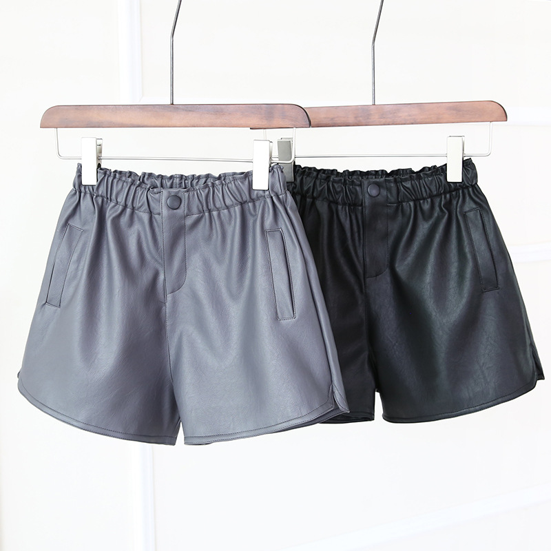 Leather   Shorts   Female Version of Middle Waist Loose Casual   Shorts   Loose Waist Wide Legs Pockets Thin Sexy Women   Shorts