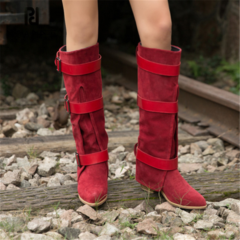 Prova Perfetto Women Knee High Boots Red Suede Female Chunky High Heel Boots Straps Autumn Winter Platform Rubber Botas Mujer