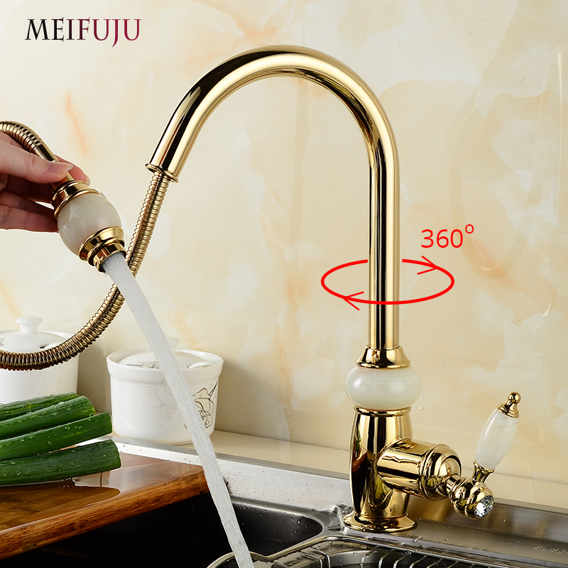 Luxury Golden Handheld Pull Out Kitchen Faucet Deck Mounted Single Hole Kitchen Sink 360 Swivel Kitchen Mixer Hot and Cold Taps цена и фото
