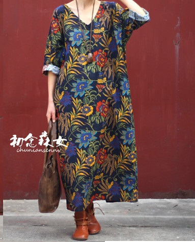 93b9026c75b Promotion for Chinese New Year !!!!!!!!!!!!Vintage national trend fluid  flowers robe loose plus size one-piece dress ~ Top Deal May 2019