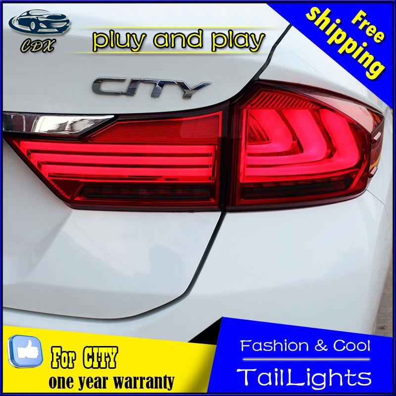 Car Styling Tail Lamp for Honda City Tail Lights 2014-2016 New City LED Tail Light LED Rear Lamp DRL+Brake+Park Stop Lamp