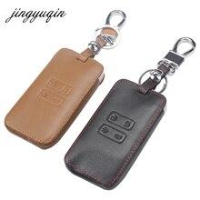 Jingyuqin עור רכב מפתח כרטיס כיסוי Case fit עבור רנו Koleos Kadjar Keychain ארנק מגן מחזיק