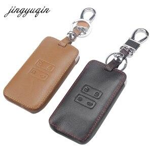 Image 1 - Jingyuqin étui en cuir pour clés de voiture, housse de protection pour clés, compatible avec Renault Koleos Kadjar, portefeuille et porte clé