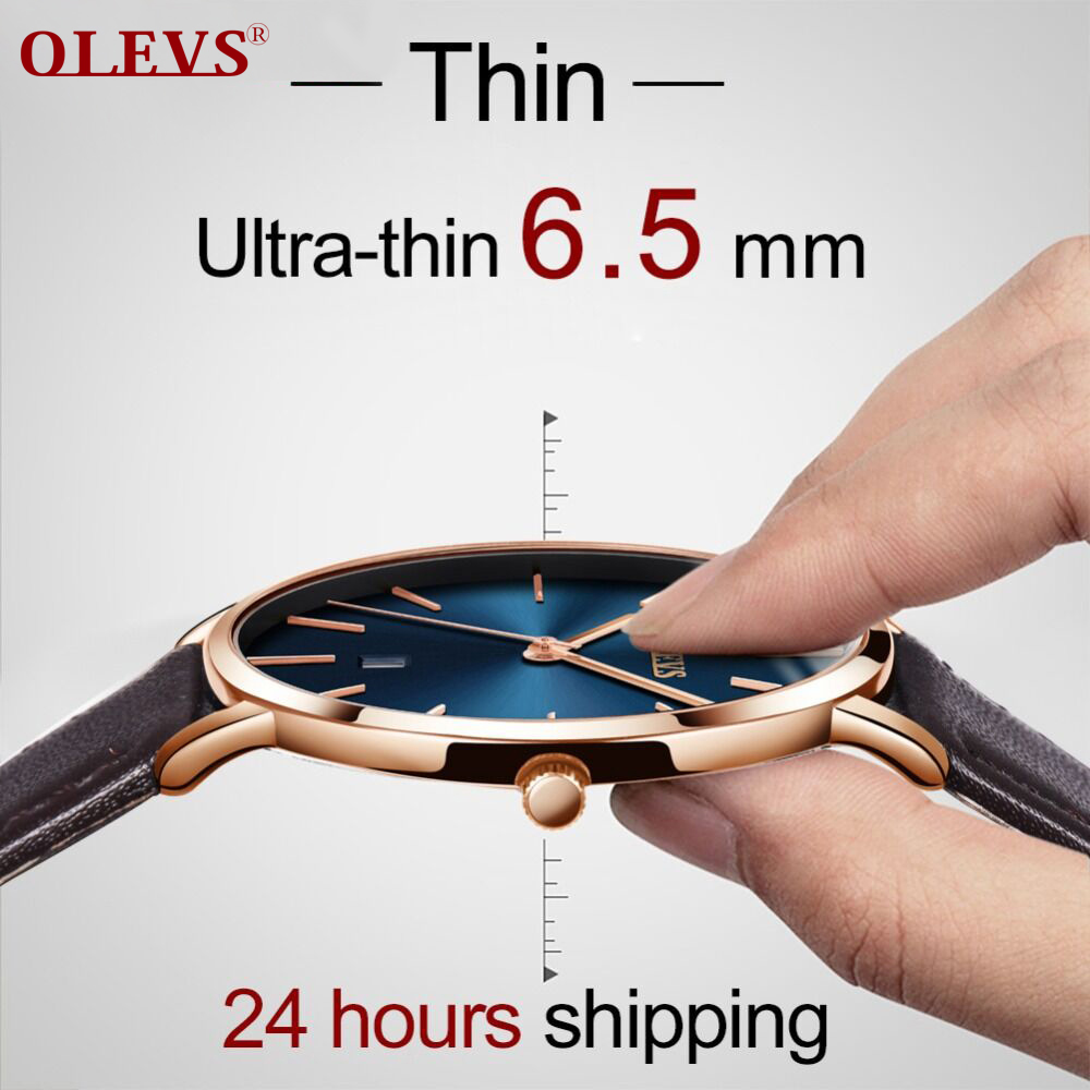 OLEVS Ultra Thin Male Wristwatch Leather Watchband Watches Waterproof Scratch-Resistant Watch Clock G5869P