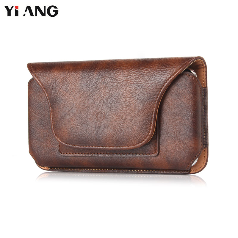 цена Waist Packs for Men YIANG Brand PU Leather Litchi Pattern Mobile Phone Bag Waist Bag Fashion Belt Clip Bag Leather Belt Pouch