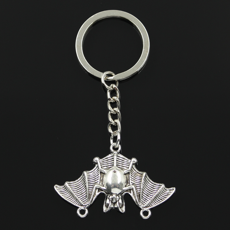 Fashion 30mm Key Ring Metal Key Chain Keychain Jewelry Antique Bronze Silver Color Plated Bat Vampire Dracula 29x47mm Pendant
