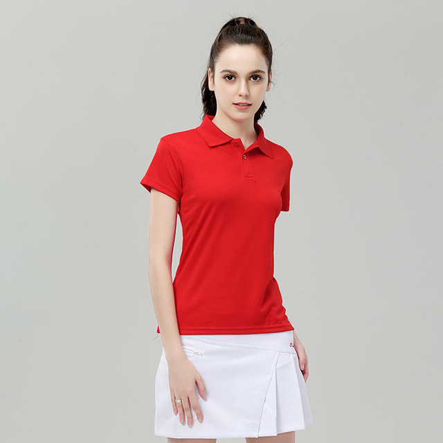 a27cb154 New Female Sports Polo Shirts Women's Golf Shirts Short Sleeve Quick Dry  Slim Outdoor Training Tennis Badminton Sportswear Tops