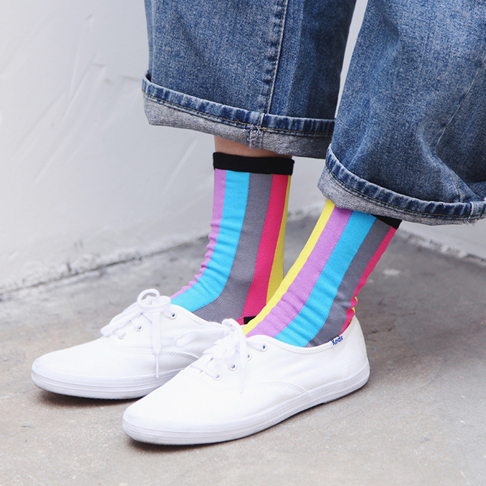Rainbow Striped Socks Patterned Funny Short Socks New Style Hot Women 39 s Cool Cotton Socks Casual High Quality Comfortable in Socks from Underwear amp Sleepwears
