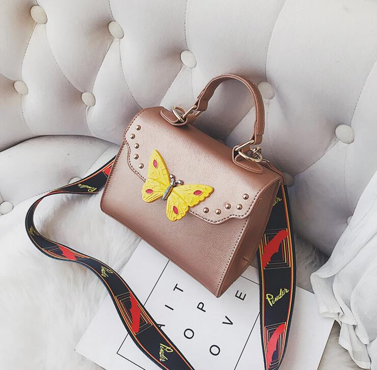 2018 New Butterfly Rivets Print Strap Lady Flap Women Shoulder Bag #2050 Fashion Woman Crossbody Bag Christmas Gift