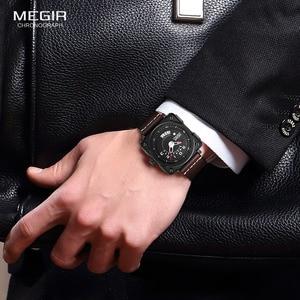 Image 4 - Megir Mens Square Analog Dial สายหนังสายนาฬิกาข้อมือควอตซ์กันน้ำนาฬิกาปฏิทินวันที่ 2040